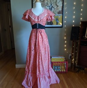 Jody T Red Floral and Gingham Prairie Maxi Dress